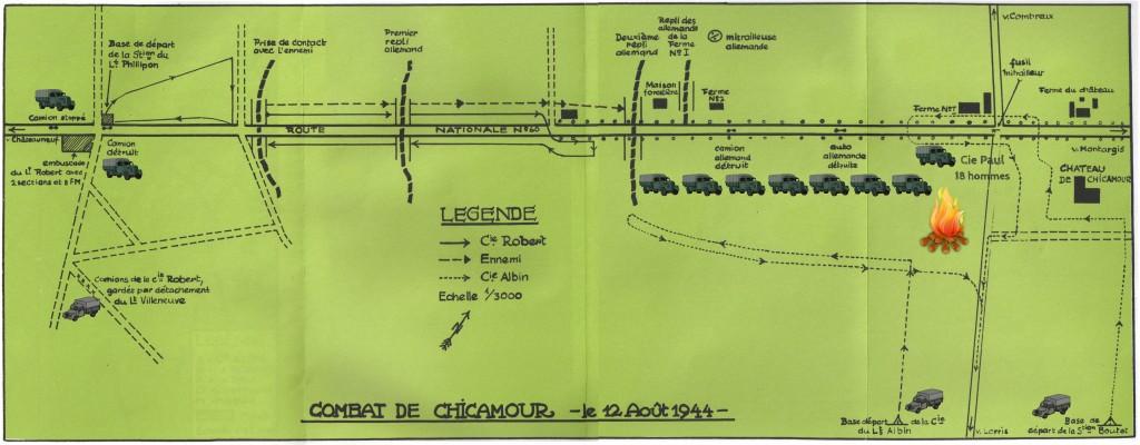 Plan des combats de Chicamour du 12 août 1944