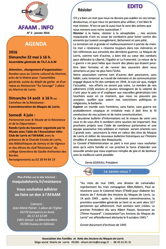 bulletin AFAAM n°2 p1